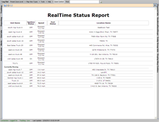 real time, gps tracking report